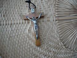 Régi vallási kegytárgy, fa feszület 9,5 cm