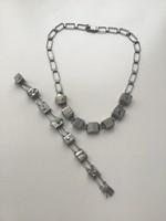 Régi skandináv ezüst ékszerszett pirit ásványokkal díszítve