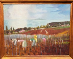 Fenyő Andor Endre 1956 / Tavaszi munkák a badacsonyi szőlőben 1956-ban