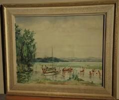 Komárnoky K. Gy. (1892-) : Fürdőzők Balatonnál