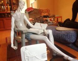 Don Quijote Llardo Spanyol porcelán szobor + emléktábla.
