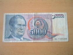 JUGOSZLÁVIA 5000 DINÁR 1985 J.B.TITO BS