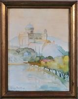 Tipary Dezső (1887-1967): Esztergom látképe, akvarell