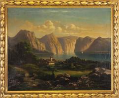 XIX. századi osztrák alpesi tájkép, kb. 1860-70