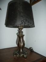 Antik működő bronz asztali lámpa új ernyővel