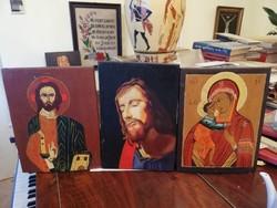 Három fatáblára festett ikon