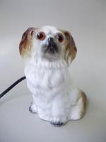 Extrém ritka retro porcelán kutya alakú,világító szemű éjjeli lámpa