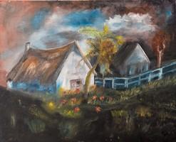 Tanyai hangulat olajfestmény, kasírozott vászon 40 x 50 cm