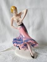 Sitzendorf kézzel festett fajansz táncosnő figura, ritka darab 1918 körüli