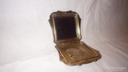 Antik metszett tükrös púderes szelence