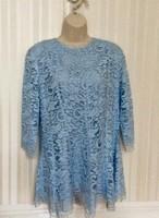 Gyönyörű szép kék csipke tunika,bélelt,Sellei Gabi modell új állapotban, 40-es méret.