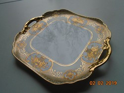 NORITAKE luxus japán porcelán,aranybrokát virágkosár mintával,újszerű tálca díszes fogókkal-25x22 cm