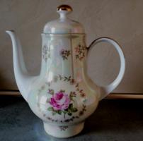 Kahla lüsztermázas rózsás teáskanna, kiöntő