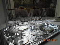 5 db Óriás talpas pohár,körméret 35 cm(!) arany N (Napoleon) monogram+korona+empire koszorú