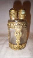 Antik filigrán 4 üvegcsés parfümtartó ritkaság