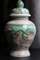 Kézzel festett nagy méretű kínai Qianlong (?) gyömbér tároló gyömbértartó fűszertartó