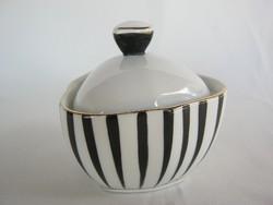 Hollóházi porcelán art deco fekete-fehér bonbonier cukortartó