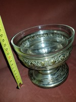 Gyönyörű SAB ezüstözött asztalközép, csiszolt üvegbetéttel