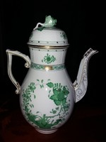 Makulátlan nagyméretű Herendi zöld Indiai kosár mintás teás kanna 26cm!