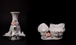 Fehér mázas aranyozott galambos porcelán vázák