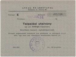 Talpalási utalvány - 1947