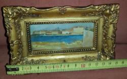 Mini tengerparti város, festmény, mini blondellben
