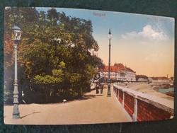 Szeged Tiszaparti sétány régi színes képslap