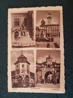 Komárom Jókai szobor, Városháza, Kőszűz, Újvárkapú régi képeslap