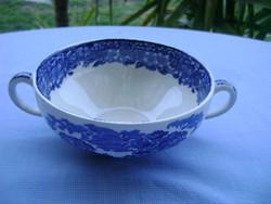 Rare old Angol porcelánfajansz kétfüles leveses tányér  16x12x7 cm hibátlan érett darab