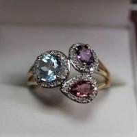Gyémánt-turmalin-topáz 585/14kr.arany gyűrű.Gyönyörű