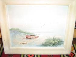 Festmény P. Vögel Csónak a tó partján