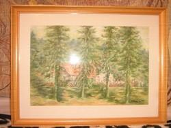 Festmény Kalmár Irén 1999 akvarell életkép