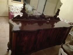 Nagyméretű, Antik olasz chippendale tálaló szekrény, nappali bútor I. világháború idejéből