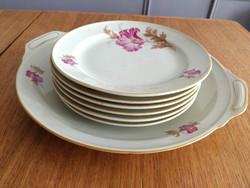 Royal Ivory KPM csodaszép virágos süteményes porcelán szett