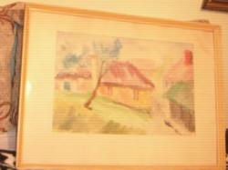 Festmény akvarell utcakép