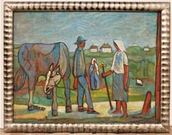 Dóra István ( 1932-) életkép c. olajfestménye EREDETI GARANCIÁVAL !!!