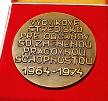 Képzési központ a megváltozott munkaképességű polgárok számára,Pozsonyi emlékérem.