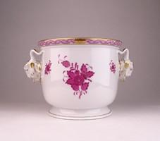 0U599 Hibátlan Herendi kosfejes porcelán kaspó
