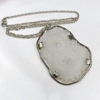 Vintage ezüst nyaklánc hatalmas kvarc medállal