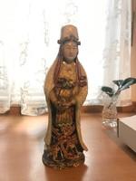 Előkelő hölgy: Kína, festett, aranyozott porcelánszobor