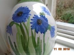 1961 NIKITSCH Burgenland Ausztria,kézzel festett,szignózott füles kerámia váza virág mintákkal-