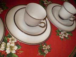 WINTERLING fehér/barna porcelán kávés csésze 2 kistányérral 3 db.  hibátlan 3 garnitúra