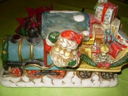 Karácsonyi Norvég eredeti asztaldísz kerámia vonat Mikulás Ritkaság 20x11x13 cm.