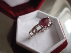 Láncszemes igazi vörös RUBIN (nagy kő!) - 925 ezüst gyűrű