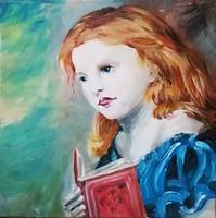 """""""Lány könyvvel"""" szignózott eredeti absztrakt festmény Közvetlen a művésztől!"""