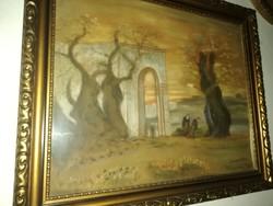 Festmény egyházi jelenet Jeruzsálem,gatsamani kert
