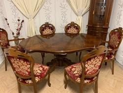 Neobarokk étkező asztal 6db barokk mintás székkel
