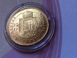 1882 arany 8 Forint 6,45 gramm 0,900 gyönyörű állapotban,kapszulában