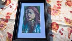 Stílusos festmény, portré szignózott