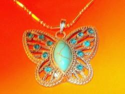 Türkiz köves Pillangó Ezüst - 18k Fehérarany Nyaklánc
